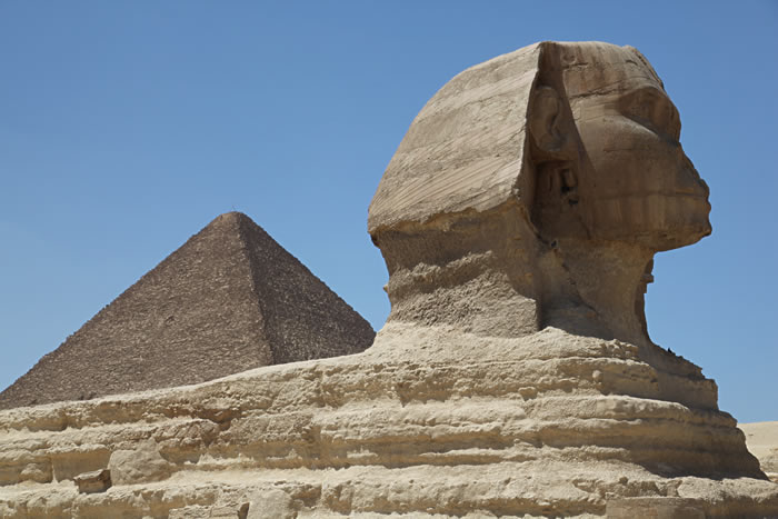 Sphinx and a Pyramid at Giza, Egypt