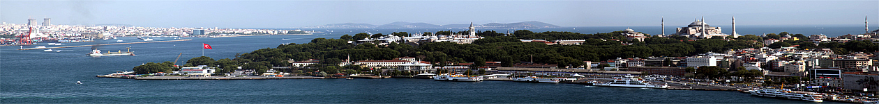View of the Bosphorus and Topkapi Palace.